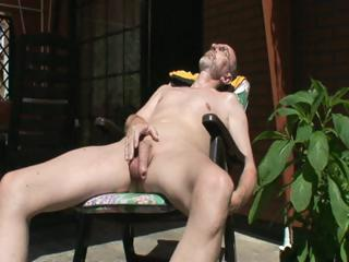 Old horny goat is outside housebound in a armchair arrhythmic off his cock