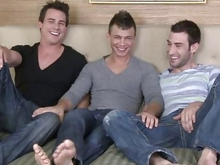 Three pale piping hot happy-go-lucky hunks having threesome action