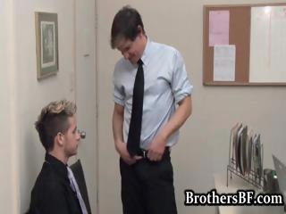 Brad fucking and wanking in the office