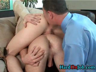 Sex-mad gay threesome rimming