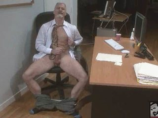 Sexy Bisexual Grandpa Beating his muscle at rub-down the Office 'work'