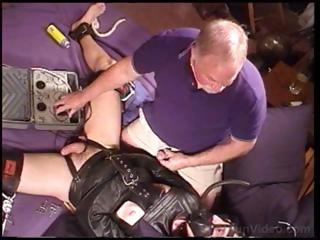 Dude close by a keep quiet straitjacket is fondled with the addition of teased by aged guy