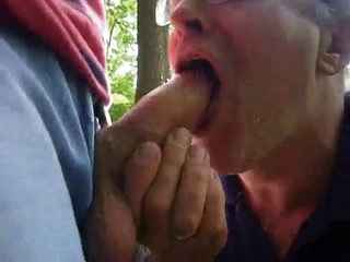 Daddy swallowing cum in forest