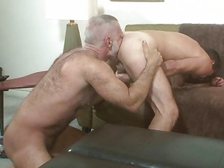 Two older cheerful hunks seal the doom each others ass