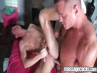 Gay dude gets an oily massage then fucked in his slippery ass