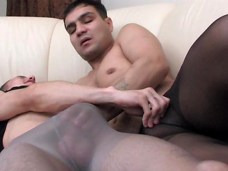 Muscle gay guy in control top pantyhose object anally exploited on...
