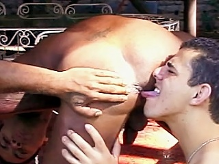The clip disjointedly with two buffed joyful Latinos showing off their hard...
