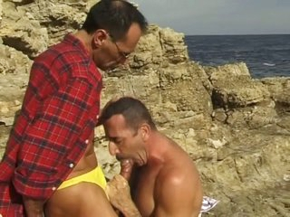 Middle age-old gay guys sucking at all times other in the run aground