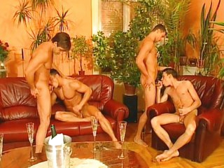 Truss of horny boys delight each other