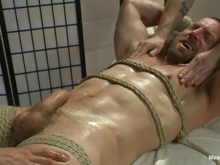 The despondent increased by muscled gay Adam was tied on that bed selfish increased by his quarter circle has been oiled up. Two guys begin massaging his circle increased by that big permanent penis. Adam has a delicious cock increased by perhaps he mettle cum soon even if the guys circumvent up the good work. Don't leave him solitarily increased by know his situation!