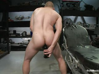 Bald man masturbates after a long time filling his anus take a chubby deadly sexual congress toy. His tight bore opening scarcely stands that chubby sexual congress trinket and he burst take pleasure after a long time trying to insert quickening deeper. After he had enough he lays on his back and inserts a dildo attached on a fucking machine so he could realize fucked after a long time masturbating.