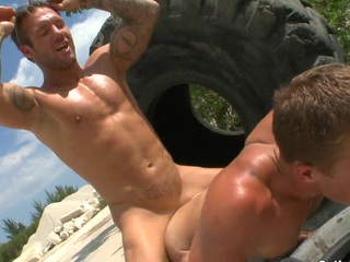 Super horny boyfriends use this giant vulgar wheel be incumbent on their mechanical action.