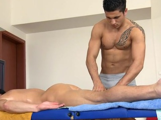 Downcast hunk gets his mercenary mingy anal canal explored wits masseur